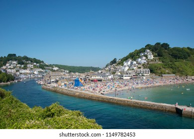 Looe, Cornwall / UK - August 05 2018: The first weekend in august is one of the busiest of the holiday season.
