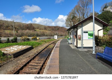 LOOE, CORNWALL/UK - April 2, 2019. Railway station at the end of the branch line, Looe, Cornwall, England
