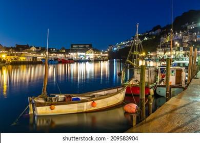 Looe Harbour at Night Cornwall England UK Europe