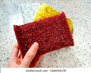 Loofah sponge set for cleaning or dish-washing.