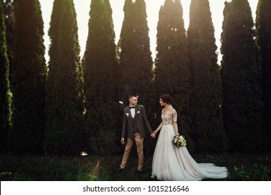 Look from above at beautiful wedding couple kissing in the evening garden