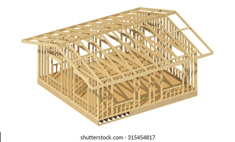 C?lose-up look at the construction and all wood framing process of this new home.Three-dimensional image.