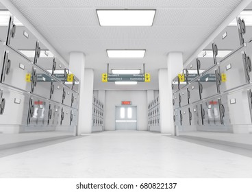 A look down the aisle of fridges in a clean white ward in a mortuary - 3D render