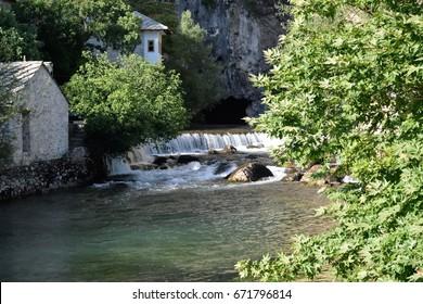 A look down the Buna River in Blagaj, Bosnia and Herzegovina