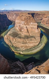A look down into The Horseshoe Bend in Page Arizona US