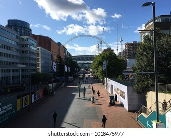 A look down Olympic Way at the iconic Wembley Stadium.