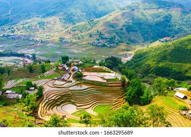Look down a small village in the valley, in Lao Cai Province, Vietnam.