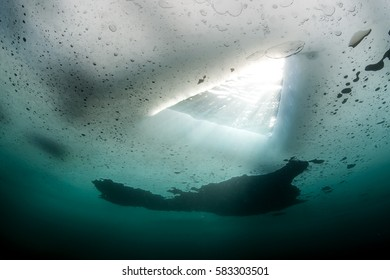 Look at Ice hole from underwater