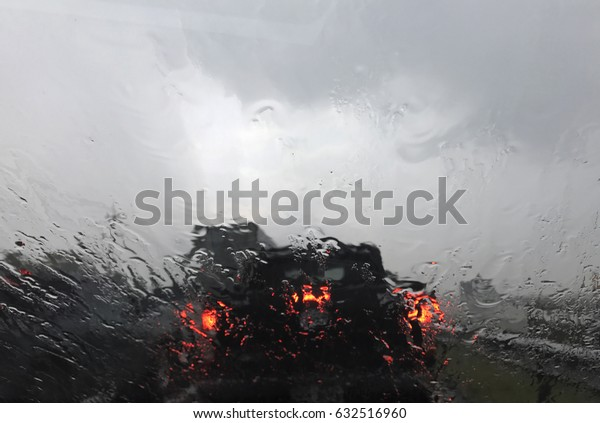 look from inside car when raining.