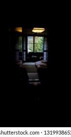 Look inside a quiet dark Japanese type hotel room or Ryokan