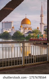 the look of The Klang Royal Town Mosque,klang selangor ,malaysia at early morning when sunrise time. This picture taken On June 2020 from kota bridge klang ,selangor ,Malaysia