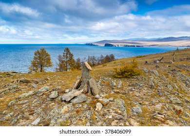 Look from Olkhon Island across Lake Baikal, Russia during autumn season