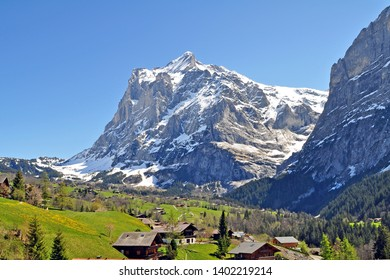 Look on Eiger Mountain and Grindelwald Village in springtime