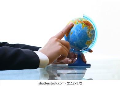 look on globe