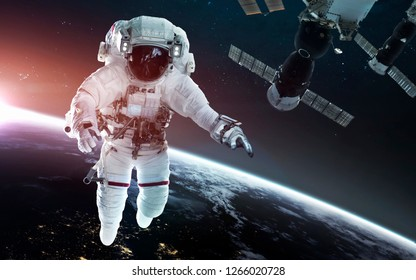 Look on our planet from orbital international space station ISS, astronaut at spacewalk. Elements of this image furnished by NASA