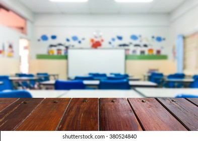 Look out from the table ,blur image of classrooms are empty as background.