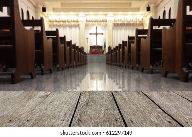 Look out from the table, blur image of the church as background.