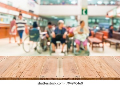 Look out from the table, blur image of inside the hospital as background.