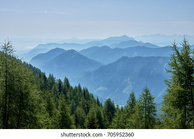 Look over misty covered mountains from the top of the Panoramastrasse on Mt. Goldeck
