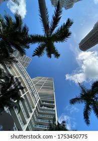 Look up perspective at Icon luxury condo building in Brickell Miami, Florida taken on June 10, 2020.