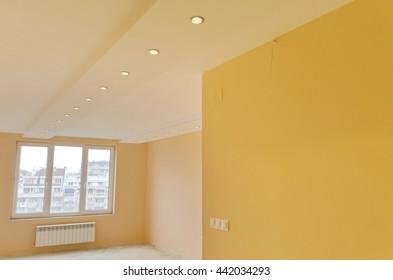 Look of renovating freshly painted room with modern LED lighting, Sofia, Bulgaria