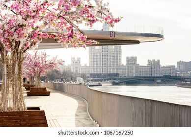 Look at the Soaring bridge Park Zaryadye. Moscow decorated with flowering trees in the spring of 2018.