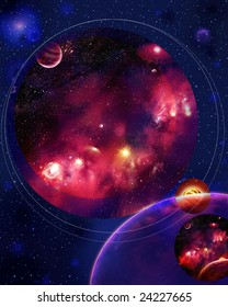 Look in space is a very decorative and original decision with round scopes for a design