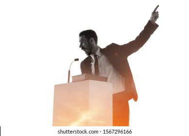 Look. Speaker, coach or chairman during politician speech isolated on white background. Double exposure - truth and lies. Business training, speaking, promises, economical and financial relations.
