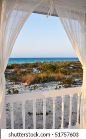 Look through beach house window