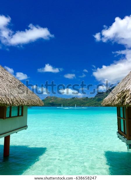 Look Through Overwater Bungalows Luxury Resort Stock Photo