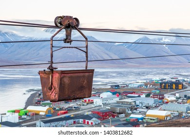 Look througt he old cableway for transporting coal from mines in Longyearbyen, Svalbard, Spitsbergen, Norway