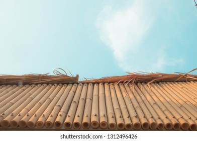 Look upward into sky and you can see eaves of bamboo pipe