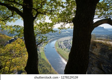 Look to the valley of the Elbe River with the small town Rathen from a rock in the Elbe Sandstone Mountains