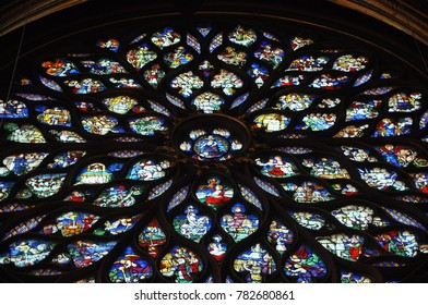Look up view of rose window glazed by beautiful stained glass at  Sainte Chapelle, Paris, France, 19 April 2016. Editorial use only