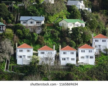 Lookalike white houses with orange roofs on hillside in Wellington New Zealand