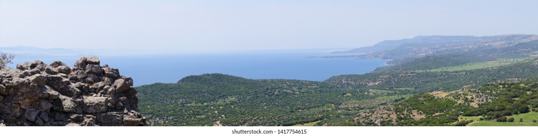 Looking across Aegean Sea from Assos to Lesbos, Behramkale, Turkey