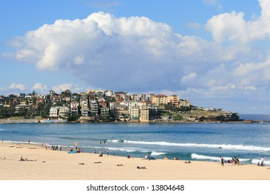 Looking across at the apartment houses at Bondi Beach