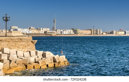 Looking across the beach at Playa de la Victoria from Campo del Sur in Cadiz