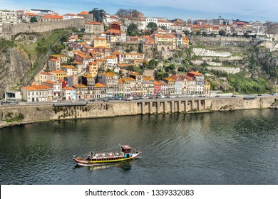 Looking across the douro river to Av Gustav Eiffel in Riberia Porto