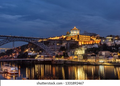 Looking across the Douro River to Gaia from Ribeira in Porto Portugal