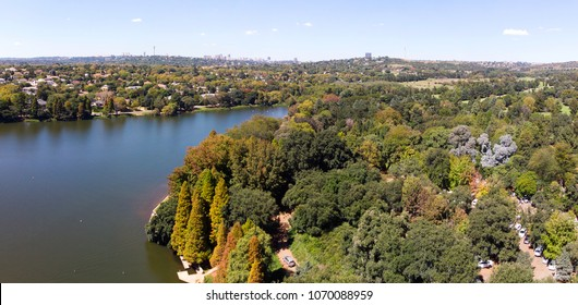 Looking across the Emmerentia Dam on a beautiful Autumn morning, Johannesburg, South Africa