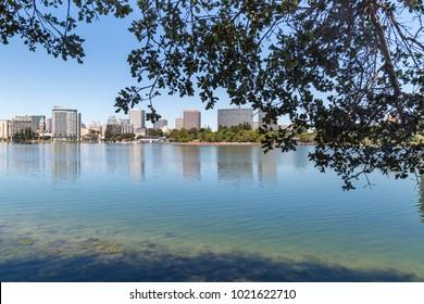 Looking across Lake Merritt towards Oakland
