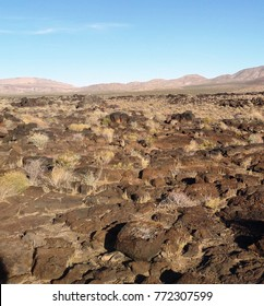 Looking across lava beds in the desert, Fossil Falls, California