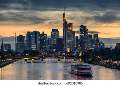 Looking across the Main river to the Central Business District in Frankfurt