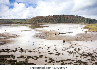 Looking across the mudflats in the estuary by Kippford harbour. Taken at Kippford, Dumfries and Galloway, Scotland, UK.