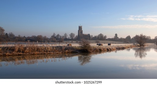 Looking across River Nene towards village of Fotheringhay Northamptonshire