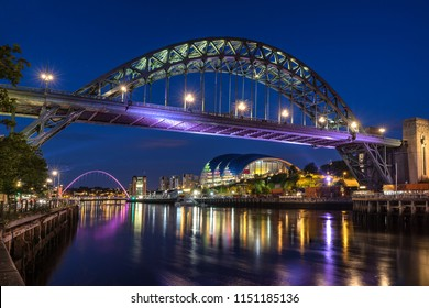 Looking across the River Tyne on the Quayside of Newcastle and Gateshead