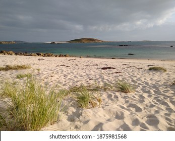 Looking across to Samson from a beach on Bryher, Isles of Scilly, England, UK