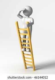 Looking ahead (3D person at top of Ladder looking far)