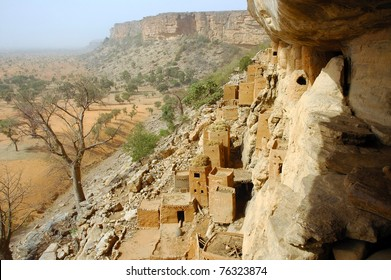 Looking along and down from the Bandiagara cliff to Dogon and Tellem buildings and surrounds